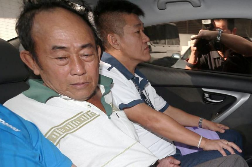 Officers from the Royal Malaysia Police arrested 63-year-old Seow Lam Seng (left) in Penang on March 22, 2018. He was taken back to Singapore two days later.