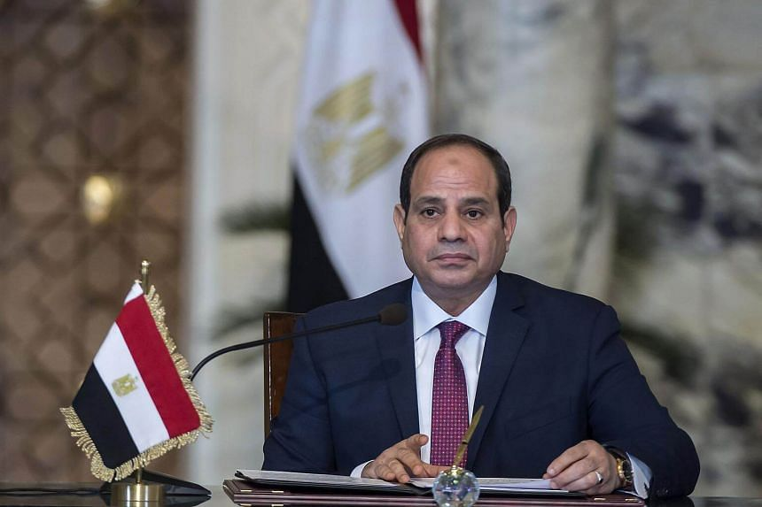 Egyptian President Abdel Fattah al-Sisi speaks during a press conference at the presidential palace in Cairo, Egypt, on Dec 11, 2017.
