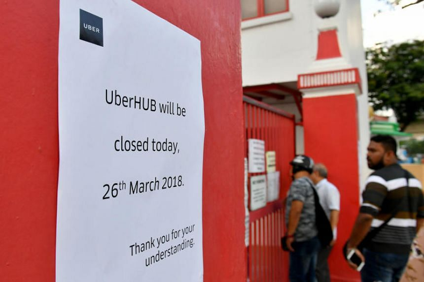 A notice announcing the closure of UberHUB in Paya Lebar on March 26, 2018.