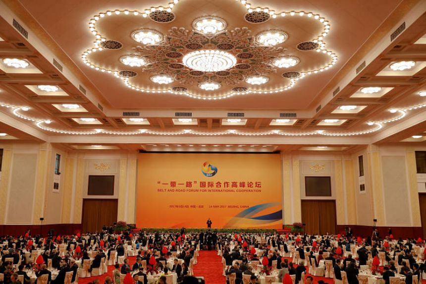 Chinese President Xi Jinping delivers his speech during the welcoming banquet for the Belt and Road Forum at the Great Hall of the People in Beijing on May 14, 2017.