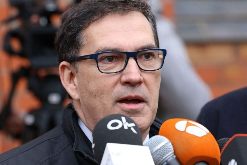 Jaume Alonso-Cuevillas Sayrol, lawyer for Carles Puigdemont, delivers a press statement.