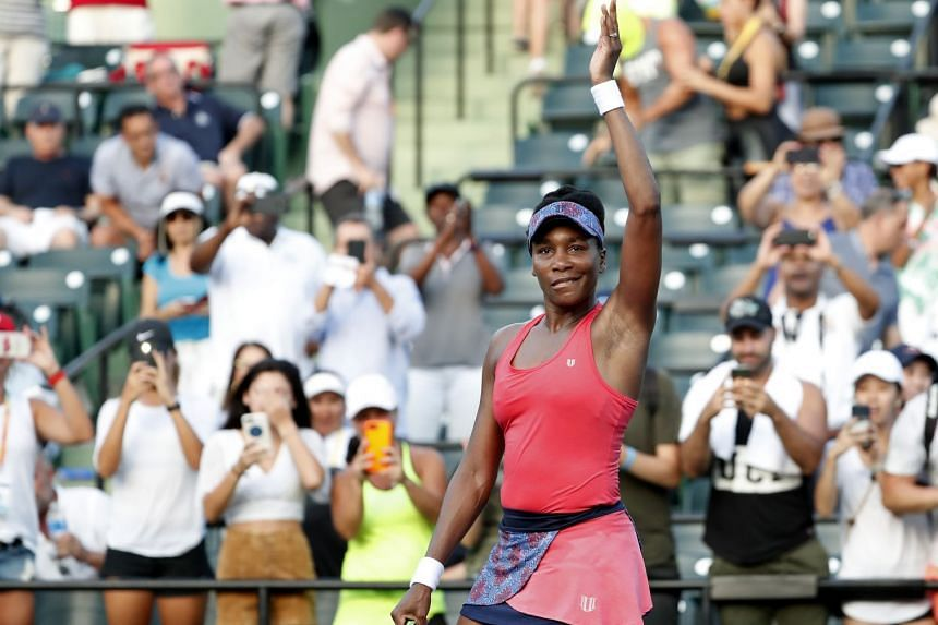 Venus Williams of the US waving to the crowd after her match against Johanna Konta of Britain on day seven of the Miami Open at Tennis Centre at Crandon Park. Williams won 5-7, 6-1, 6-2.