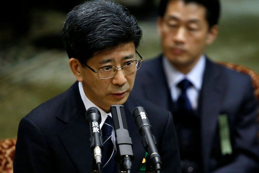 Former Japanese tax agency chief Nobuhisa Sagawa testifying at the Upper House of Parliament in Tokyo, on March 27, 2018.