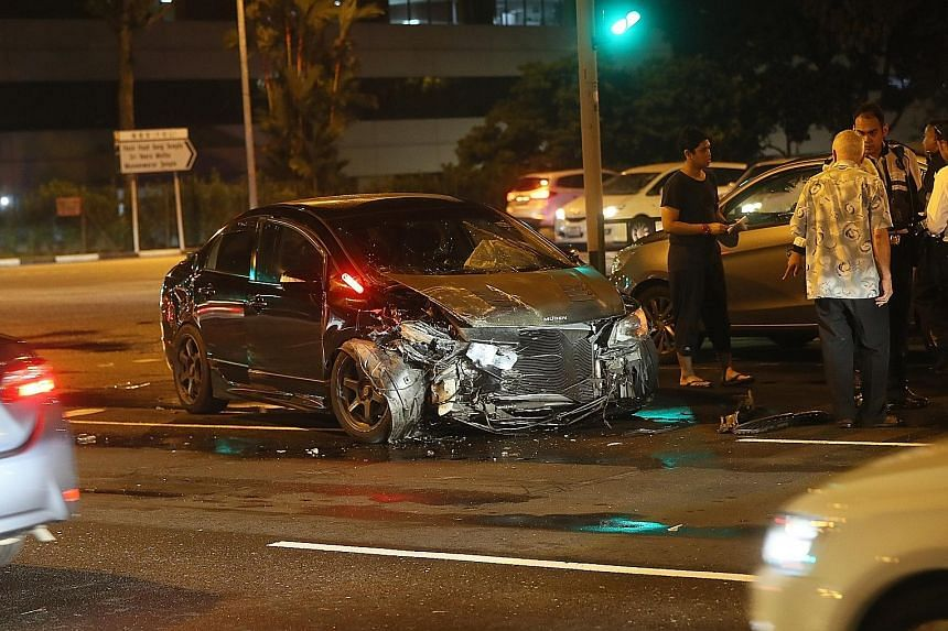 One of the vehicles involved in the accident at a traffic junction in Yishun on Sunday night. Seven men and two women, aged between 18 and 69, were taken to hospital, said the police.