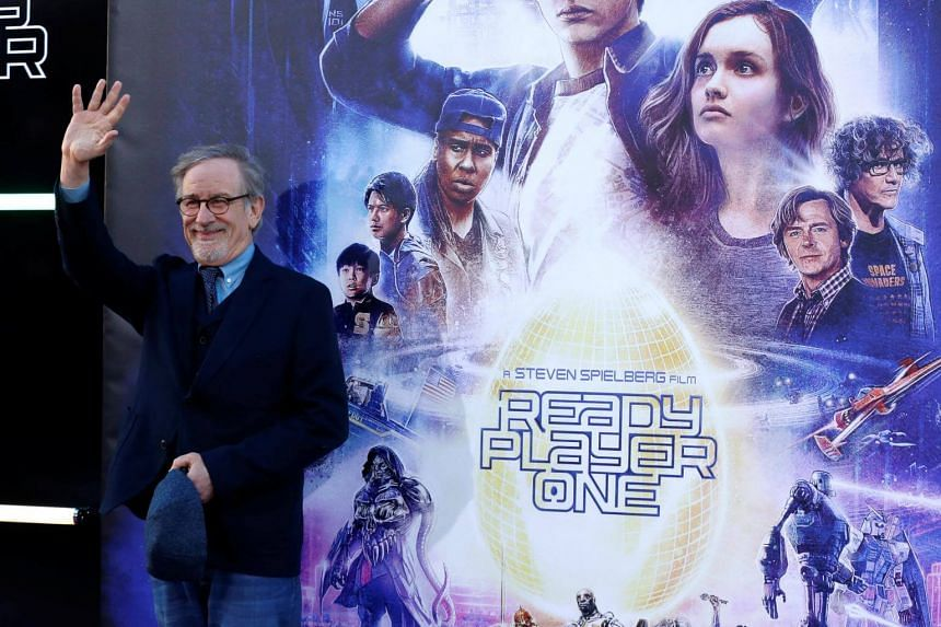 Director Steven Spielberg waves during the premiere of Ready Player One in Los Angeles, California, on March 26, 2018.