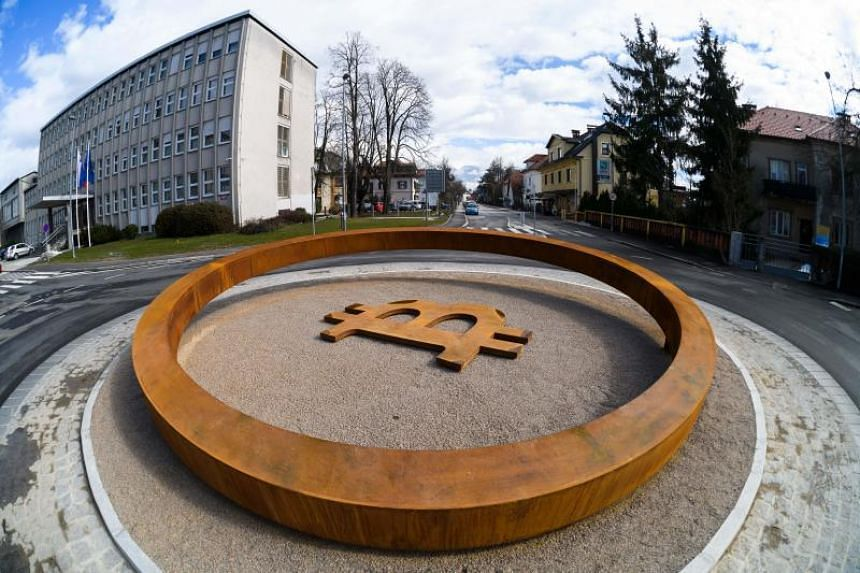 The world's first Blockchain Monument that underpins crypto-currencies, in the city center of Kranj, Slovenia on March 14, 2018.