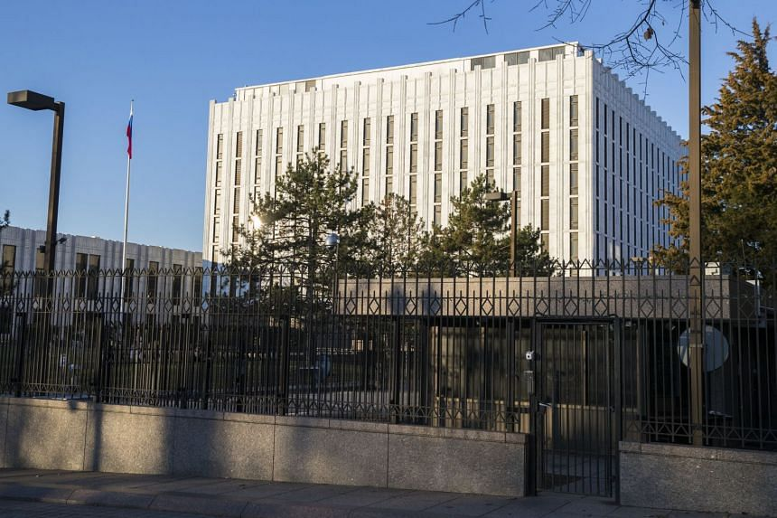 The Russian Embassy in Washington. The United States has announced that it would expel 60 diplomats in response to a nerve agent attack on a former Russian spy in Britain.