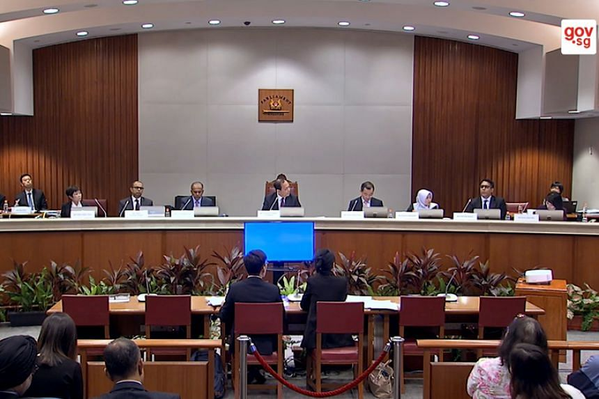 Members of the Select Committee at the hearing yesterday included (from left) Ms Chia Yong Yong, Dr Janil Puthucheary, Mr K. Shanmugam, Mr Charles Chong, who is the committee chairman, Mr Seah Kian Peng, Ms Rahayu Mahzam, Mr Pritam Singh and Ms Sun X