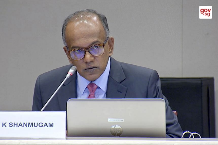 Law and Home Affairs Minister K. Shanmugam speaking at the first public hearing on deliberate online falsehoods on March 14, 2018.
