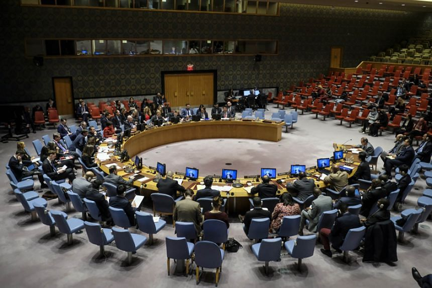 The United Nations Security Council meets concerning North Korea in New York City on March 21, 2018.