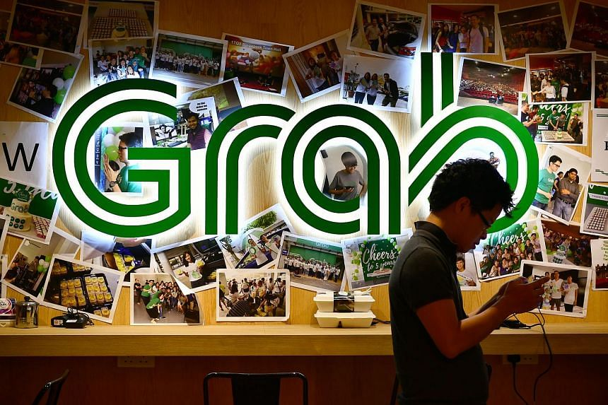 Grab's logo seen at its office on Nov 1, 2017.