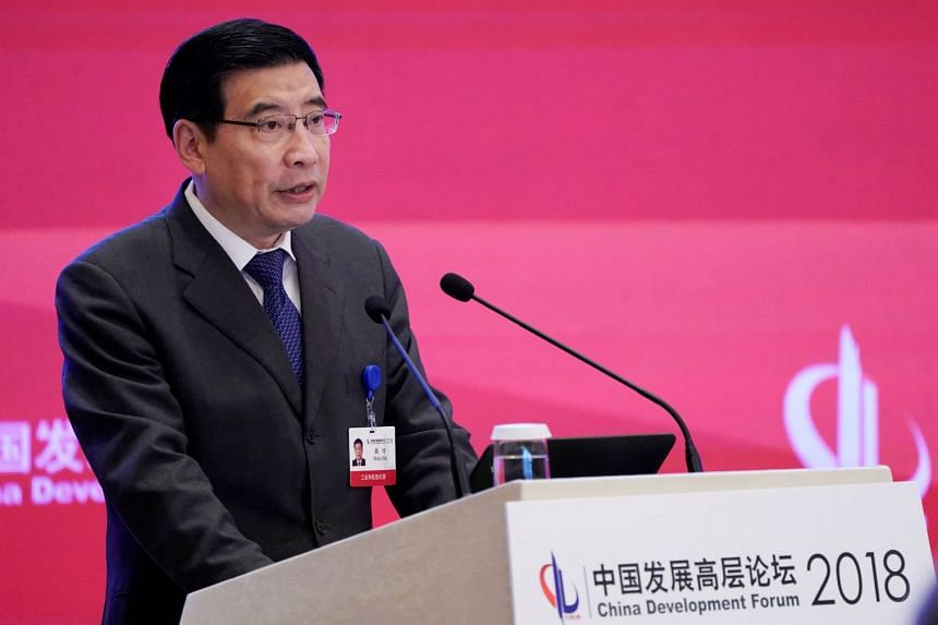 China's Minister of Industry and Information Technology Miao Wei speaking at the annual session of China Development Forum 2018 in Beijing on March 26, 2018.
