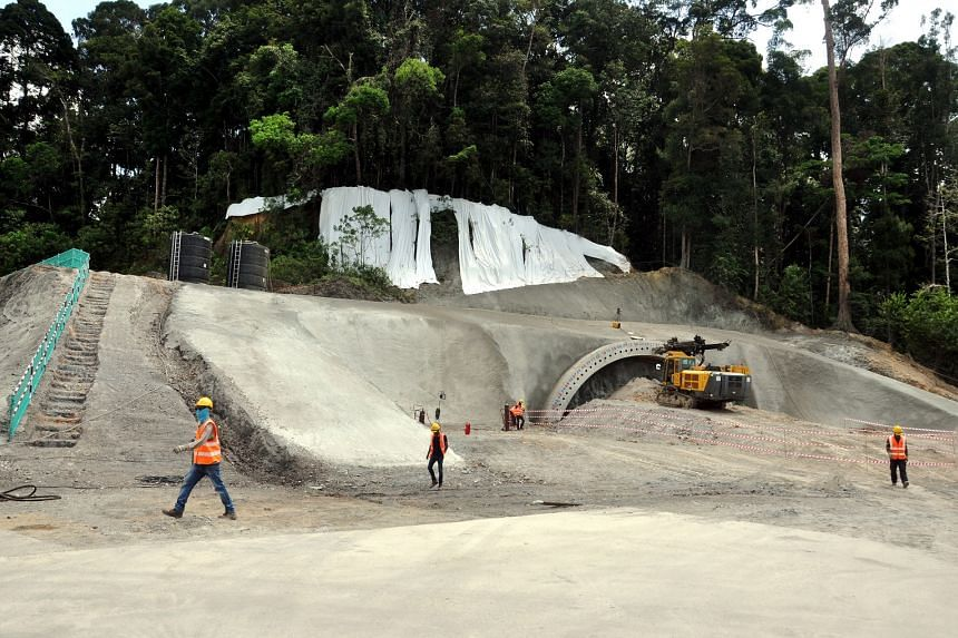Works being carried out to dig a tunnel for the East Coast Rail Line project Section 4.
