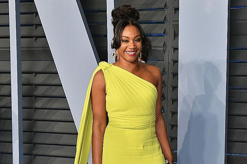 Tiffany Haddish (right) said in an interview that she saw an unnamed actress biting Beyonce (above) on the face during an after-party for a Jay-Z concert.
