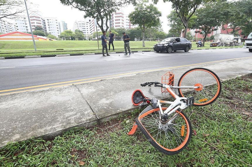 A 19-year-old female cyclist was taken unconscious to Ng Teng Fong General Hospital after being hit by a car in Corporation Road yesterday morning.