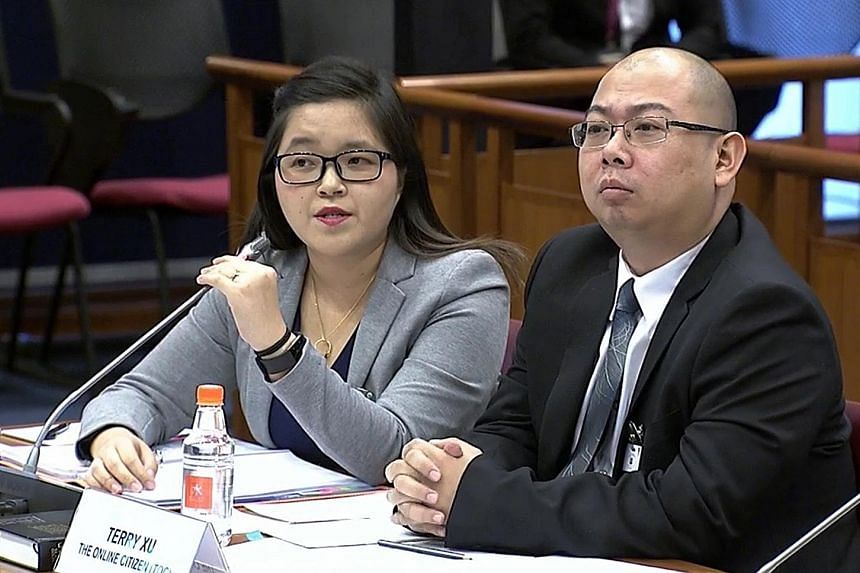 Freelance journalist Kirsten Han and The Online Citizen chief editor Terry Xu at the Select Committee hearing yesterday. Ms Han said a Freedom of Information Act here can empower people to do their own fact-checking and conduct their own analysis, wh