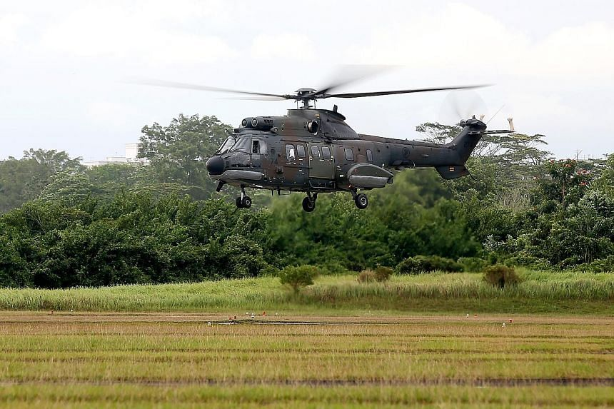 An RSAF Super Puma helicopter taking off from Sembawang Air Base. Visitors to the air force's 50th anniversary celebrations in Sembawang this weekend will get to watch live demonstrations featuring a Super Puma helicopter. These will take place at th