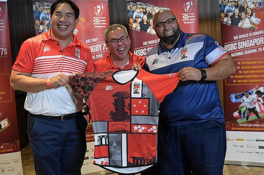 From left: SRU marketing commission chairman Jonathan Leow; Rugby Singapore executive chairman and MD David Lim; Headhunter Sport CEO Yusuf Flynn.