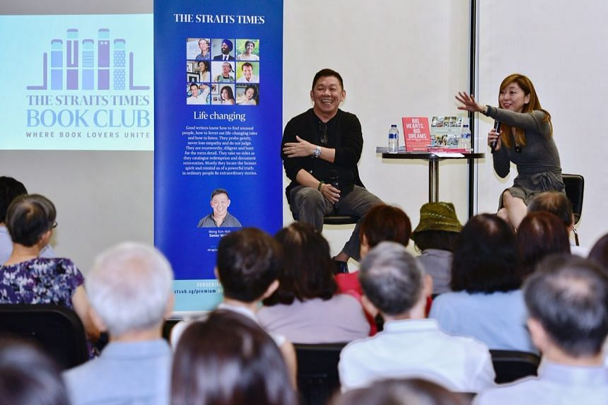 The inaugural Straits Times book club kicks off with Big Hearts, Big Dreams by Wong Kim Hoh (centre), with The Straits Times Executive Editor Sumiko Tan moderating at the Central Public Library on March 28, 2018.