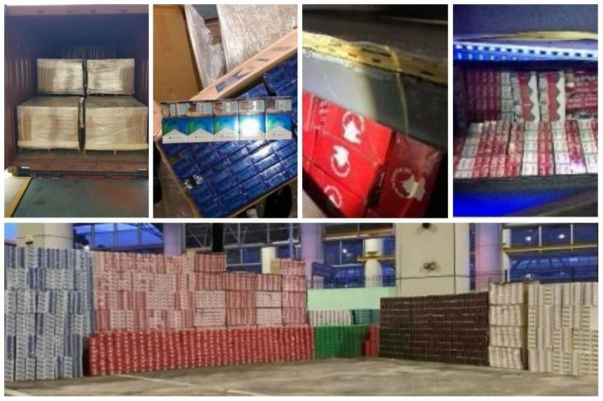The contraband cigarettes were seized in two separate occasions - one at the Pasir Panjang Scanning Station on March 22 and one at Tuas Checkpoint on March 26.