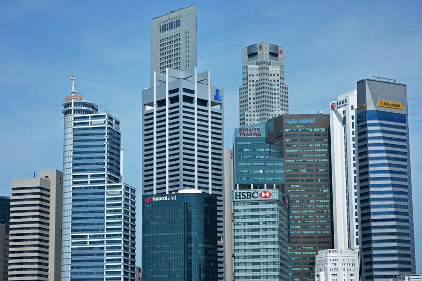 Buildings in the Marina Bay Financial Centre. The average monthly gross rent of Grade A office space in Marina Bay rose 3.3 per cent from three months ago.
