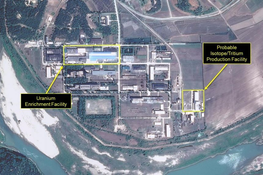 A satellite image of the radiochemical laboratory at the Yongbyon nuclear plant in North Korea by Airbus Defense & Space and 38 North released on July 14, 2017.