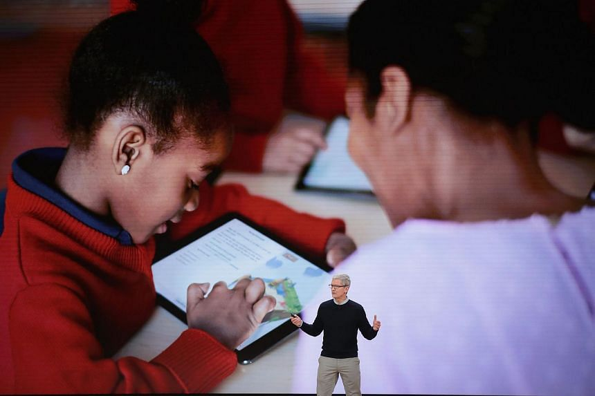 Apple CEO Tim Cook introduces Apple's new iPad. The new iPad is updated with Apple's A10 Fusion processor for faster performance and supports augmented reality apps.