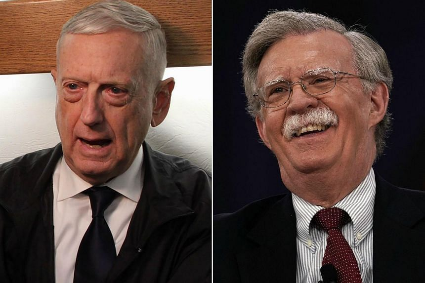 US Defence Secretary Jim Mattis (left) said he would meet John Bolton for the first time later this week at the Pentagon with the goal of forging a partnership.