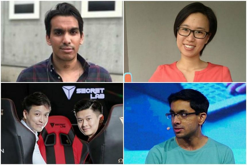 (Clockwise from top left) Chope's chief operating officer Dinesh Balasingam, founder of healthcare education startup, Joytingle, Esther Wang, chief operating officer and co-founder of Voyagin, Tushar Khandelwal, and Ian Ang (right) and Alaric Choo, F