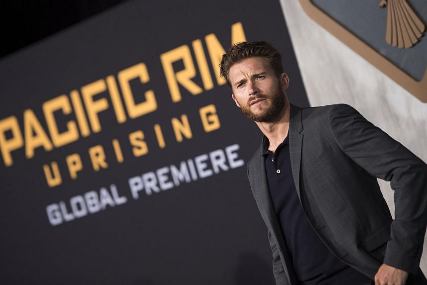 Scott Eastwood attends the Universal premiere of Pacific Rim: Uprising, in Hollywood, California, on March 21, 2018.