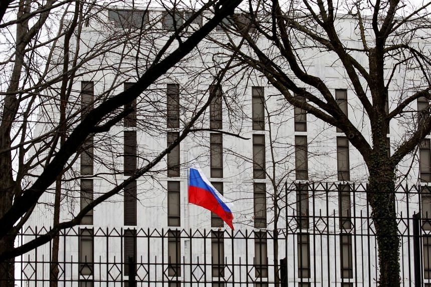 The flag of the Russian Federation flies at the Russian Embassy in Washington, US, on March 27, 2018.