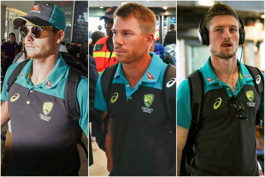 (From left to right) The disgraced Australian players - captain Steve Smith, vice-captain David Warner and opener Cameron Bancroft - were sent home after the ball-tampering scandal in Cape Town.