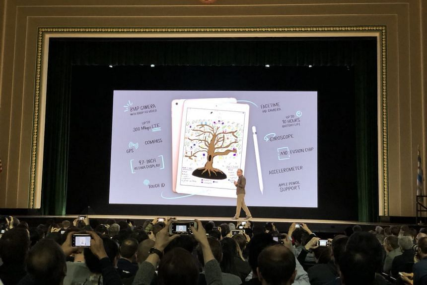 Apple's vice-president of product marketing Greg Joswiak announcing the new 9.7-inch iPad for schools.