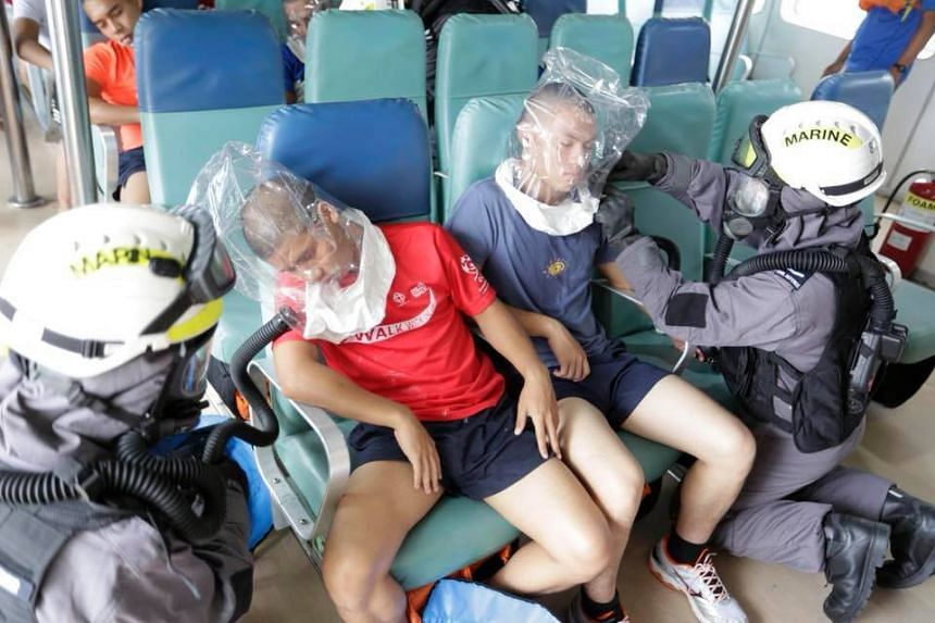 The simulated exercise involved passengers who had passed out from an unknown chemical on board a ferry.