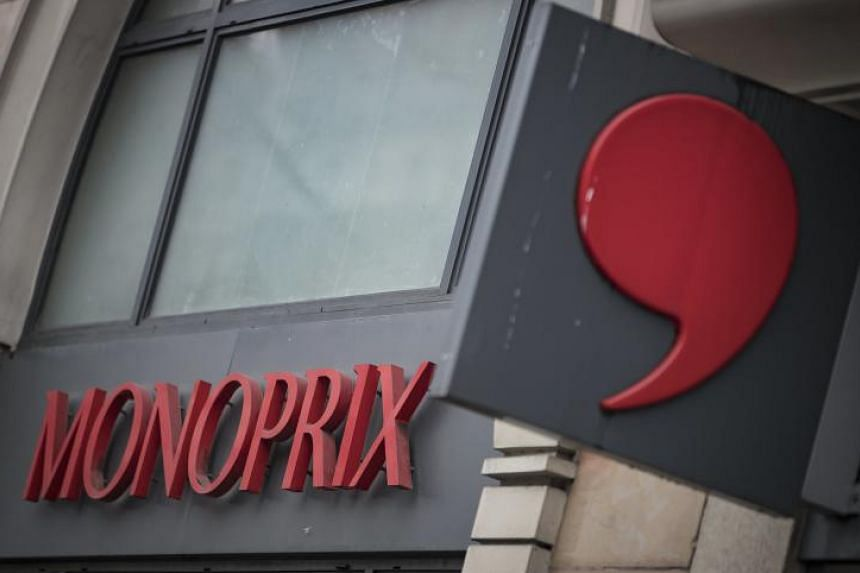 The logo of French supermarket brand Monoprix, in Paris, France.