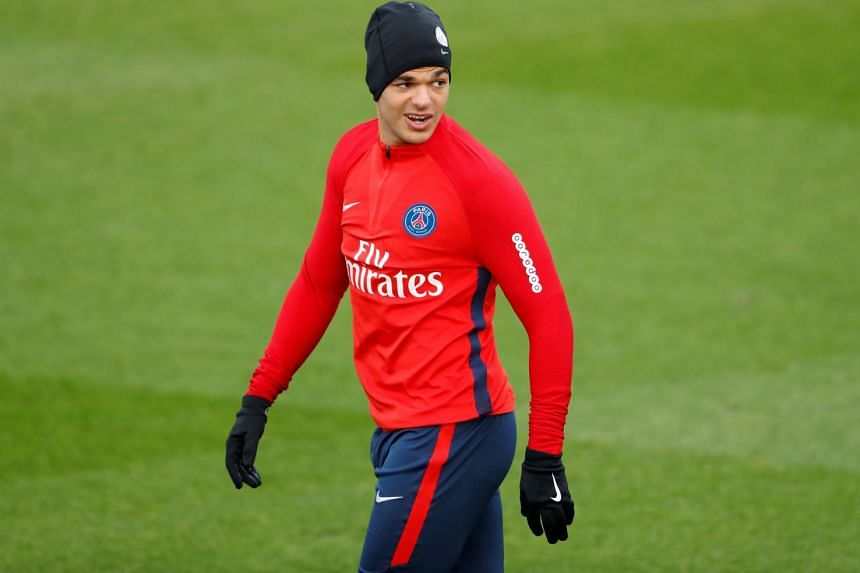 PSG's Hatem Ben Arfa, who has not played for the French Ligue 1 club in nearly a year, during training.