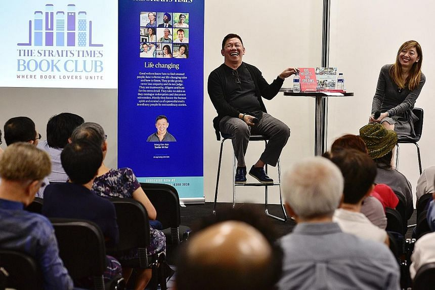 Mr Wong Kim Hoh discussing his latest book Big Hearts, Big Dreams at The Straits Times Book Club, where he also spoke with ST executive editor Sumiko Tan about the tricks of the trade in journalism.
