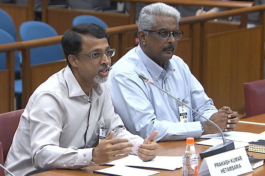 Mr Prakash Kumar Hetamsaria, chief financial officer of a trading firm, speaking at the Select Committee hearing yesterday with Mr Raja Mohan, chief programme officer of a voluntary welfare organisation.