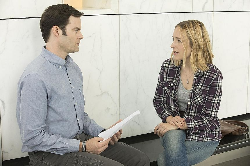 Bill Hader and Sarah Goldberg as students in an acting class in Barry, which Hader also directs.