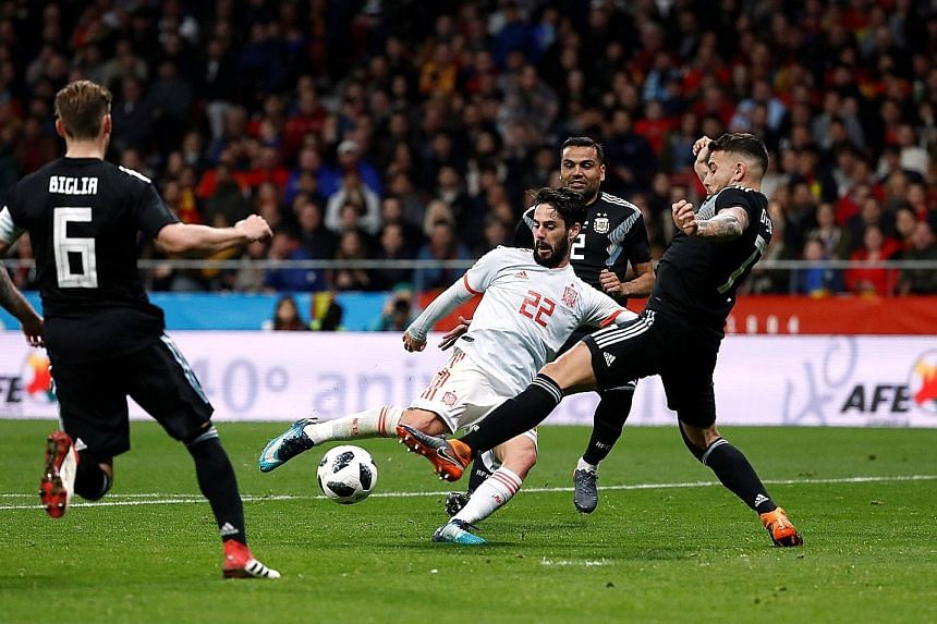Spain's Isco scoring their sixth goal and completing his hat-trick in the 6-1 friendly victory over Argentina in Madrid on Tuesday. It was his first career treble and he looks set to be in Spain's starting line-up at the World Cup.