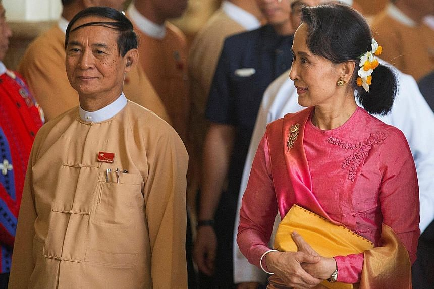 Myanmar's State Counsellor Aung San Suu Kyi and Mr Win Myint, who has just been elected President.