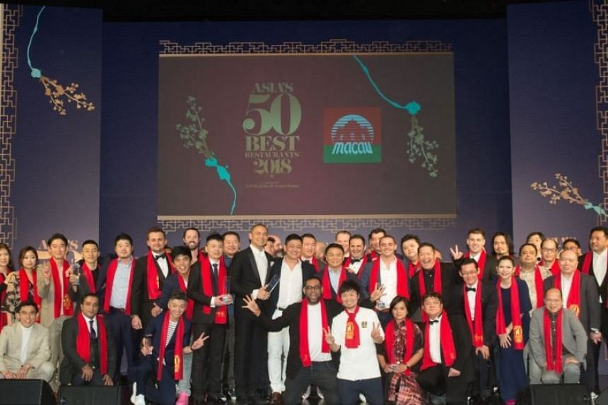 The winning chefs and restaurateurs at the annual Asia's 50 Best Restaurants awards ceremony at Wynn Palace, Macau, on March 27, 2018.