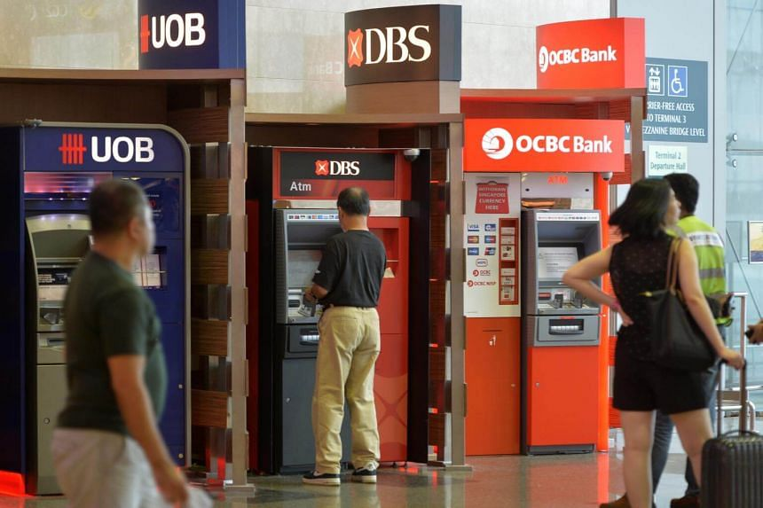 ATM machines from UOB, DBS and OCBC Bank at Changi Airport Terminal 2.