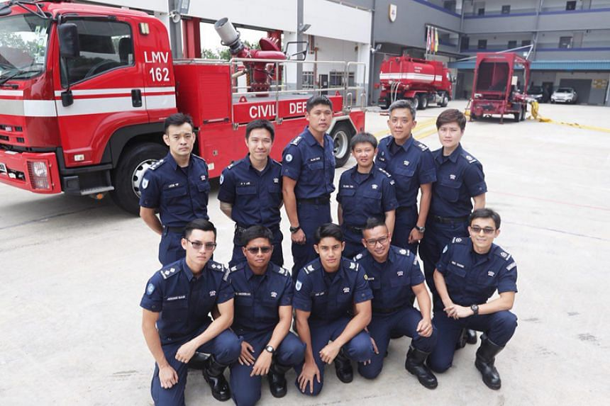 Some of the Singapore Civil Defence Force officers who were involved in the firefighting operations in Pulau Busing on March 20, 2018.