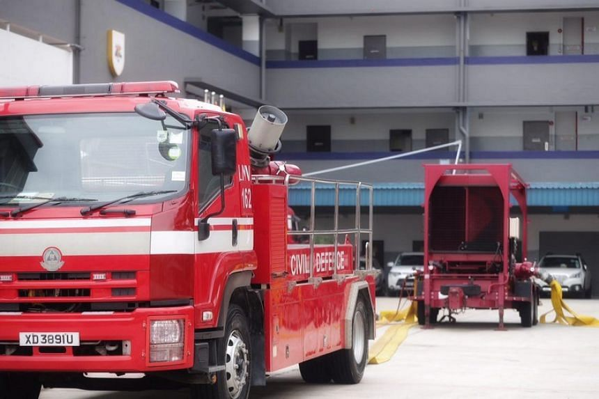 The Singapore Civil Defence Force's Large Monitor (Big Gun) setup which was deployed to mitigate the fire on Pulau Busing on March 20, 2018.