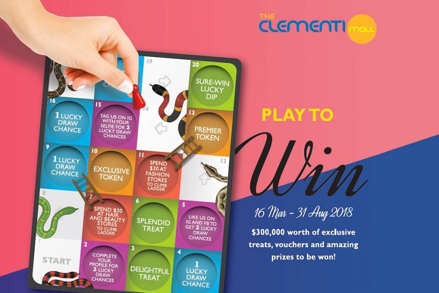 "Shop your way to amazing prizes with the ""Play to Win"" game at The Clementi Mall, from now until Aug 31. Photo: THE CLEMENTI MALL"