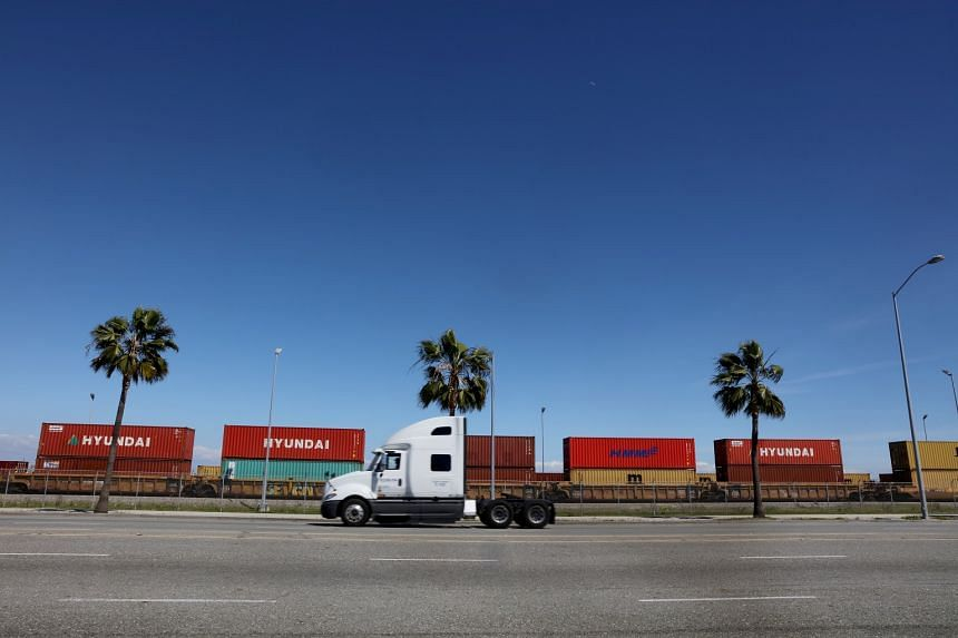 Shipping containers are seen at the Port of Los Angeles in San Pedro, California on Feb 23, 2018.