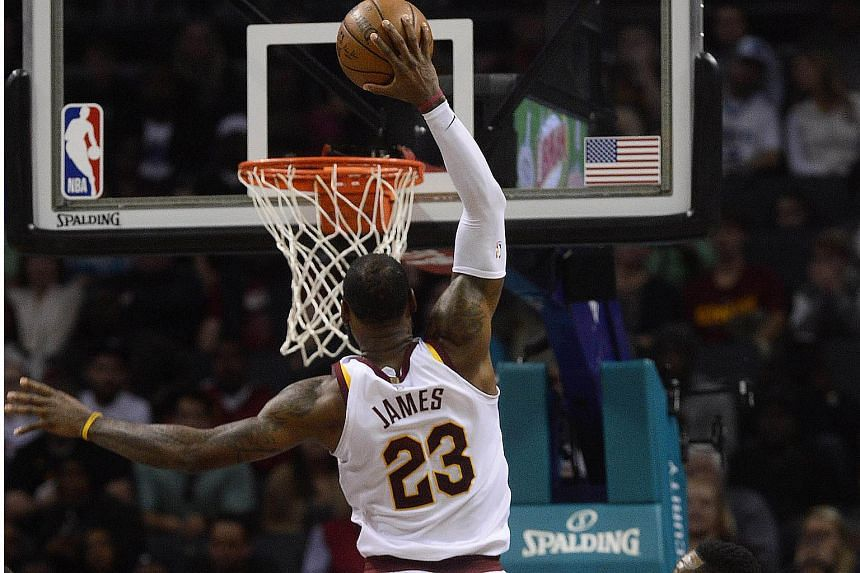 LeBron James finished with 41 points, 10 rebounds and eight assists for the Cleveland Cavaliers in their 118-105 victory over the Charlotte Hornets on March 28, 2018.