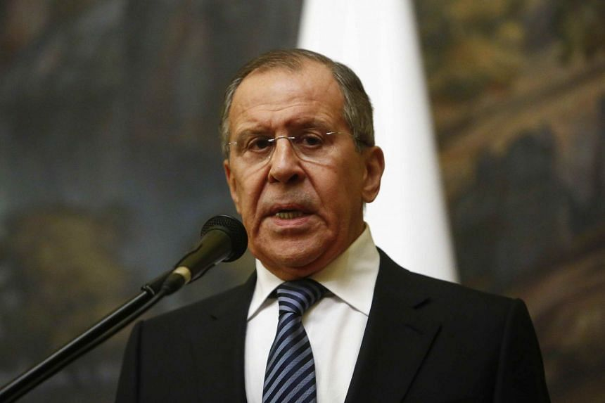 Lavrov attends a news conference after a meeting with UN special envoy on Syria Staffan de Mistura in Moscow.