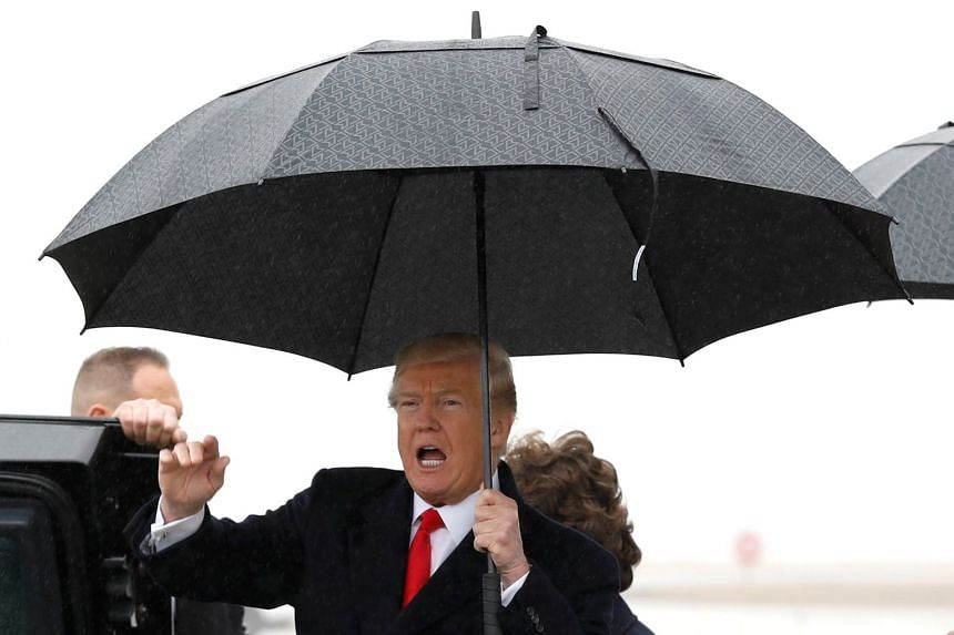 Donald Trump arriving in Cleveland, Ohio, to deliver a speech on March 29, 2018.